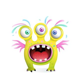 3つの目と翼を持つ子供のためのクレイジーな面白いモンスターの生き物、歯で大きく開いた口を叫びます。子供のための3dスタイルの漫画。