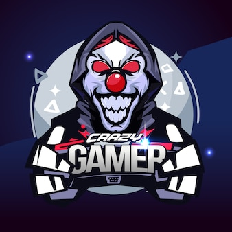 Crazy gamer. joker gamer concept. e-sport logo - vector illustration