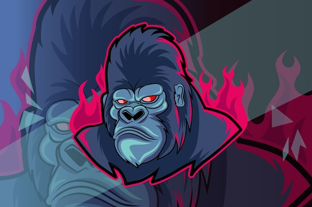 Crazy gorilla esport and sport mascot logo design in modern illustration concept