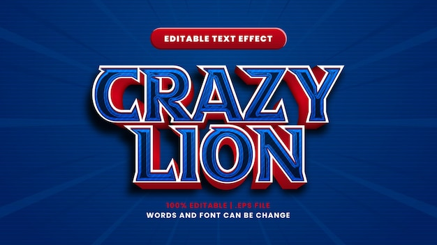 Crazy lion editable text effect in modern 3d style
