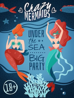 Crazy mermaids 18 plus party announcement poster with 2 red haired sexy sea life creatures