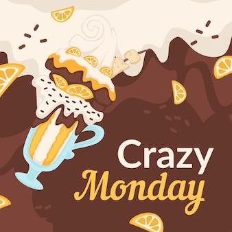 クレイジーな月曜日の割引とアイスクリームの販売