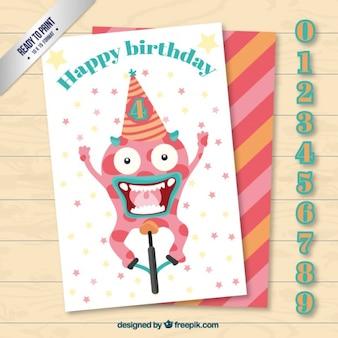 숫자와 함께 미친 괴물 생일 카드