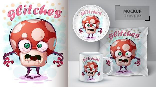 Crazy mushroom poster and merchandising