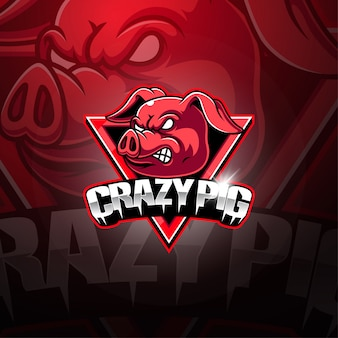 Crazy pig eスポーツマスコットロゴ