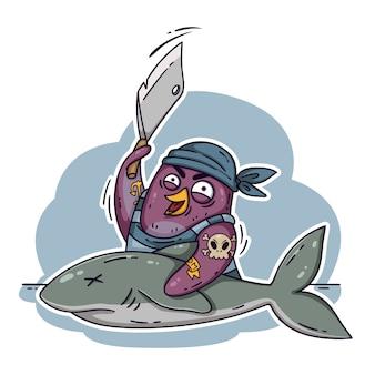 식칼로 상어를 자르는 미친 해적 펭귄. 배에서 생선을 요리하십시오. 낙서 스타일에서 흰색 배경에 고립 된 재미있는 새.