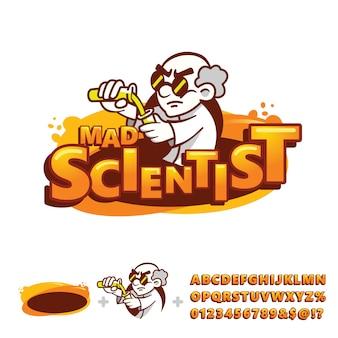 Crazy professor mascot logo with alphabet