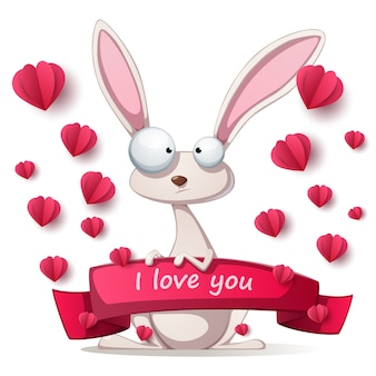 Сумасшедший кролик - иллюстрация на день святого валентина.