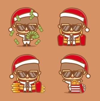 クレイジーな金持ちの男の子のキャラクターはクリスマスプレゼントのためにお金を共有し、彼は誰にでも無料でお金を与えています。