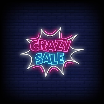 Crazy sale neon signs style text vector