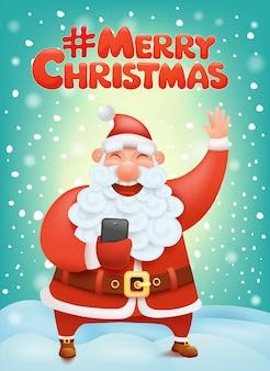 Crazy santa claus cartoon character making selphie hashtag merry christmas