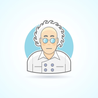 Crazy scientist look, nerd in glasses and overall icon. avatar and person illustration.  colored outlined style.