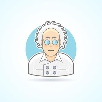 Сумасшедший взгляд ученого, ботаник в очках и общий значок. аватар и иллюстрация человека. цветной очерченный стиль.