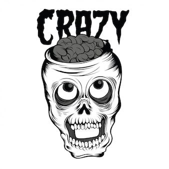 Crazy skull black and white illustration