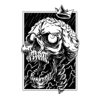 Crazy skull remastered black and white illustration