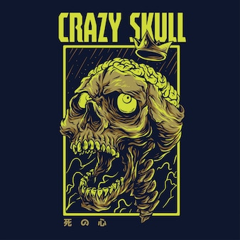 Crazy skull remastered illustration