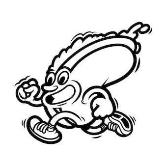 미친 길거리 음식 만화 캐릭터 아메리칸 라인 핫도그는 빨리 달린다. 세련된 운동화를 차려 입었습니다. 평면 디자인을 색칠하는 아이들을위한 현대 그림 마스코트 로고.