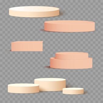 影の背景でプレゼンテーション用のクリーム色の3dの正方形と円のセットテンプレート。ベクター