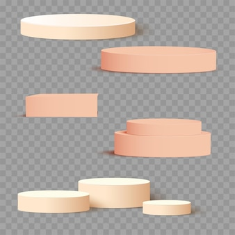 Cream 3d square and circle set templates for presentation with shadow background. vector