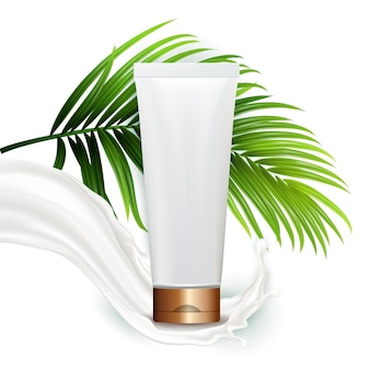Cream blank tube package and tree branch vector. organic milky cream packaging, milk splash and exotic plant green leaves. skin care healthy cosmetic template realistic 3d illustration