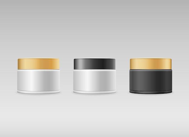 크림 병 3 컬렉션 회색 배경 벡터에 검은색과 금색 모자 제품 디자인 프리미엄 벡터