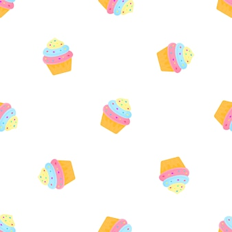 Cream cake with candy. summer seamless pattern. used for design surfaces, fabrics, textiles, packaging paper, wallpaper