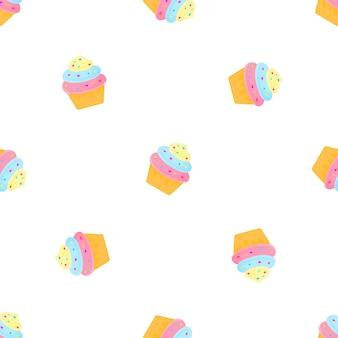 キャンディとクリームケーキ。夏のシームレスなパターン。デザイン面、生地、テキスタイル、包装紙、壁紙に使用