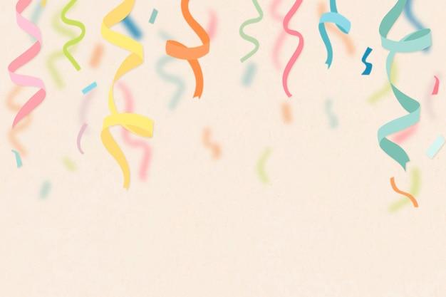 Sfondo celebrazione crema, vettore di bordo nastri colorati