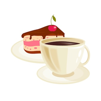 Cream cherry cake and coffee cup vector.