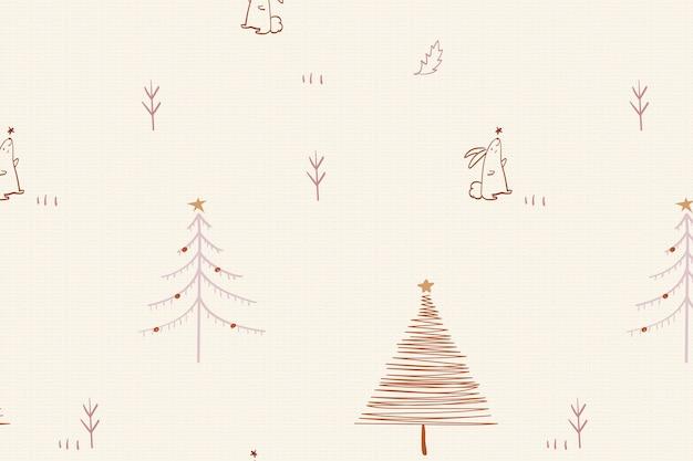 Sfondo di natale color crema, motivo di alberi festosi in disegno vettoriale scarabocchio