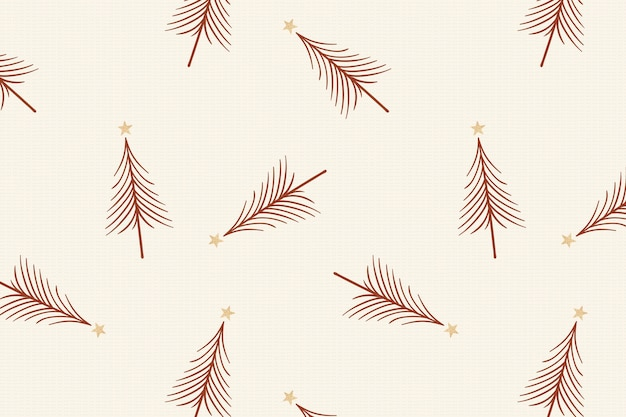 Крем рождественский фон, праздничный образец деревьев в векторе дизайна каракули