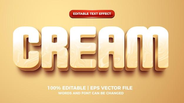 Сливочный кофе 3d мультфильм редактируемый текстовый эффект
