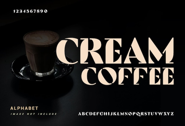 「クリームコーヒー」エレガントなアルファベットのフォントと数字。タイポグラフィフォントは通常大文字と小文字です。