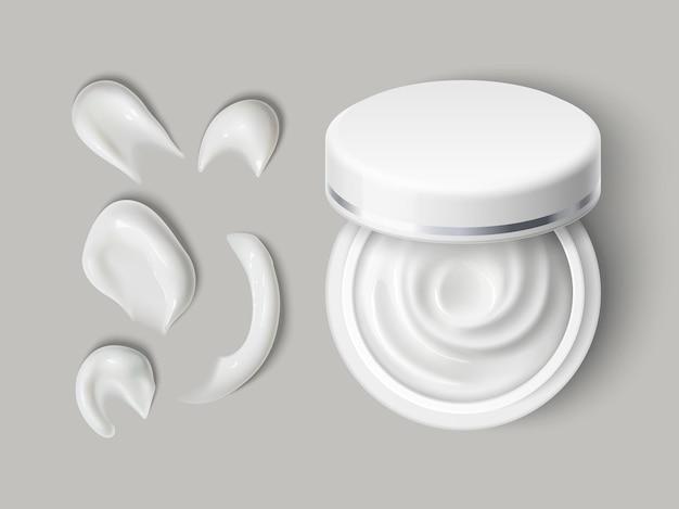 クリーム容器の塗抹標本。白い塗抹標本、シフトキャップ付きのトップビュー美容製品、ベクトルセットを備えたリアルなスキンケア化粧品ラウンドオープンジャー