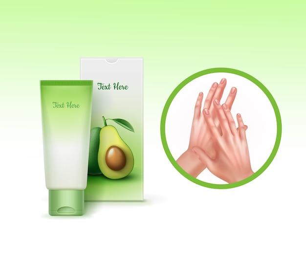 Cream of hands with avocado