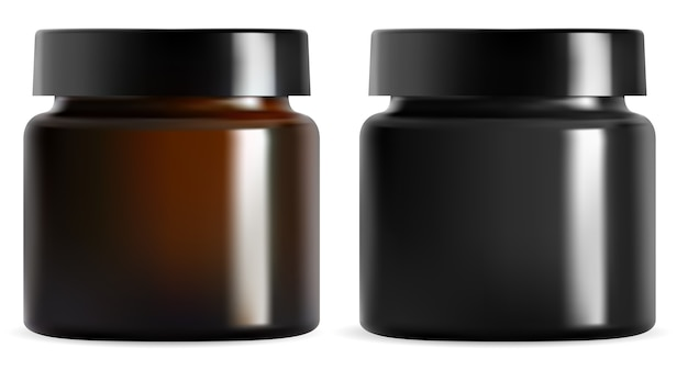 Cream jar. black plastic cosmetic packaging mockup. isolated brown glass container blank. realistic amber can with glossy cap for face lotion. round canister for premium cosmetics product