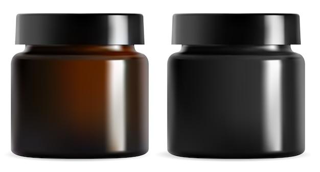 크림 항아리. 검은 색 플라스틱 화장품 포장 모형. 격리 된 갈색 유리 용기 빈입니다. 얼굴 로션 용 광택 캡이있는 현실적인 호박 캔. 프리미엄 화장품 용 원형 캐니스터