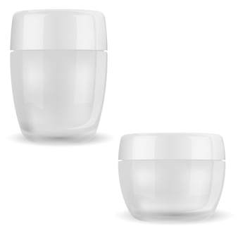Cream jar. cosmetic glass bottle face beauty transparent package for makeup product with glossy plastic lid transparent container for body skin cream