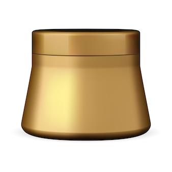 クリームジャーゴールデンプラスチック美容容器パウダーボックスフェイスケアスクラブラウンドポット光沢のあるゴールド