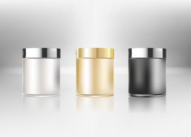 白い背景で隔離のクリーム瓶。化粧品ガラス瓶(透明)。美容製品パッケージ、ベクトルイラスト。