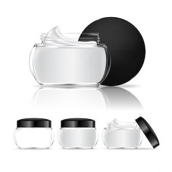 白い背景で隔離のクリーム色の瓶。化粧品の透明なガラス瓶。美容製品パッケージ、イラスト。
