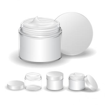 白い背景で隔離のクリーム色の瓶。透明化粧ガラス瓶。美容製品パッケージ、イラスト。