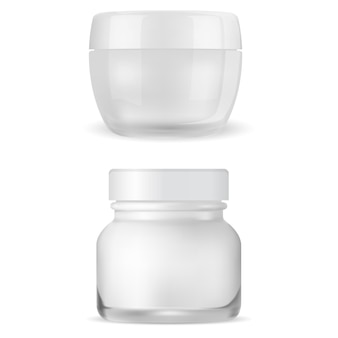 Cream jar mockup. clear cosmetic package, face creme container. 3d vector can, glossy glass packaging for skin blush care gel, woman makeup product realistic template blank