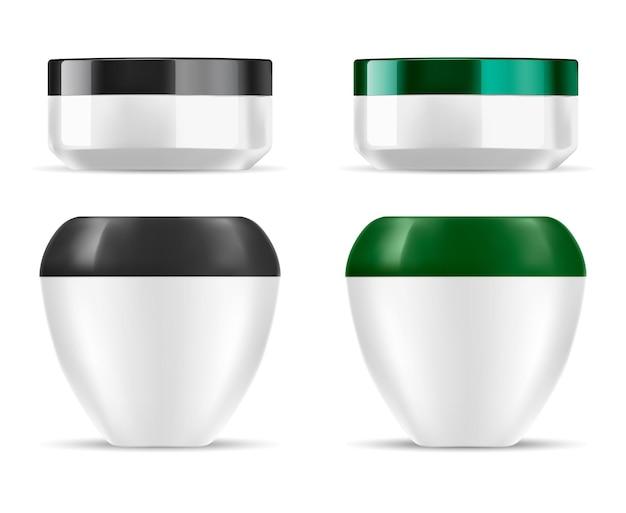 クリームジャープラスチック化粧品ボトル、丸い容器