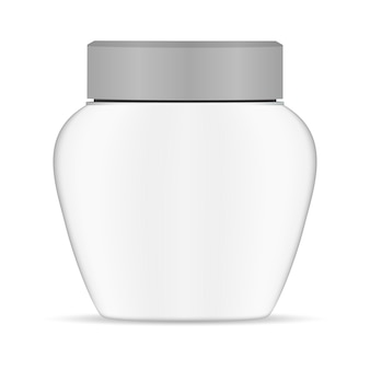 Cream jar white plastic. round container