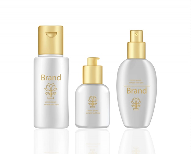 Cream and lotion cosmetics set vector realistic mock up. pink package hydration cream bottles with logo
