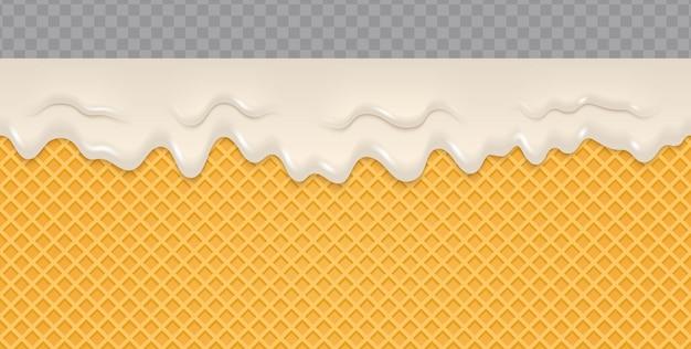 ウェーハの背景に溶けたクリーム。 Premiumベクター