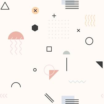 クリームメンフィスパターンの壁紙
