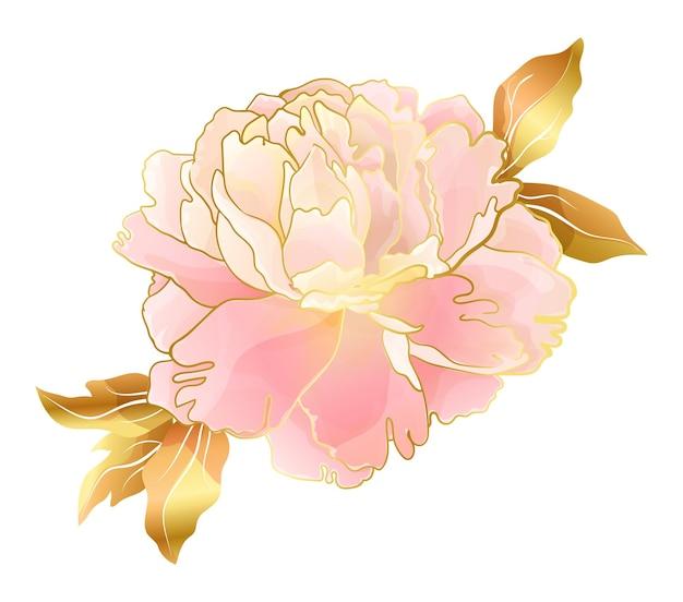 Cream pink peony flower in oriental trend