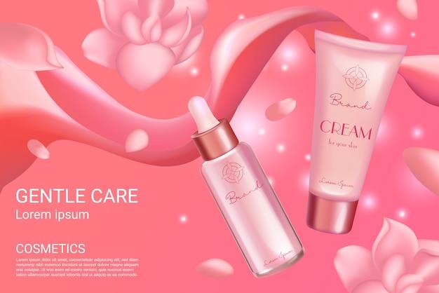 Cream serum cosmetics set for face skincare, cosmetology advertising